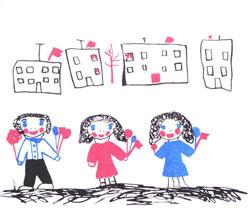 Рисунок девочки и пианино