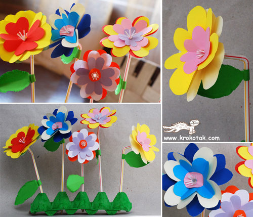 Цветы из картона своими руками схемы
