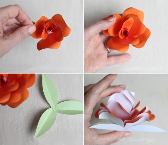 роза из бумаги схема