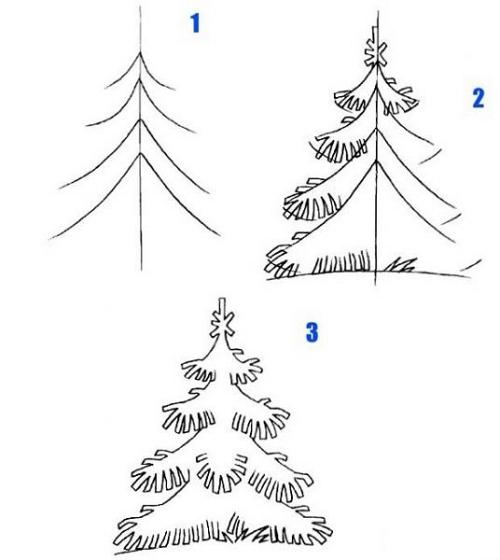 Как нарисовать ёлку поэтапно ребёнку