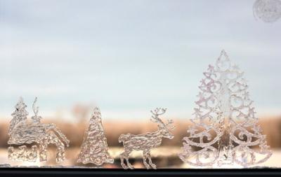 украшаем окна на новый год