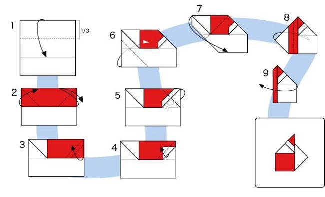 как сделать оригами деда мороза