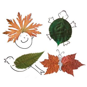 Для этого понадобится несколько опавших с деревьев листьев и нитки.