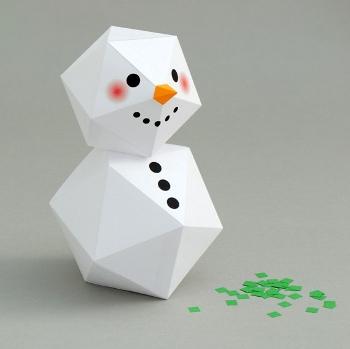 снеговик из бумаги, бумажный снеговик