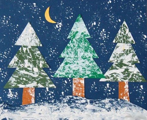 зимний лес рисунки